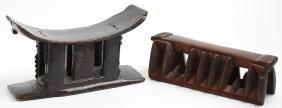 2 Vintage African Carved Wood Headrests