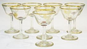 Set of 1920s Art Deco Etched Gilt Cocktail Glasses