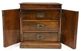 Burled Mahogany Campaign-Style Miniature Chest