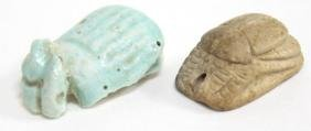 2 Ancient Egyptian Scarab Amulets
