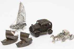 5 Silver Transportation-Themed Miniatures