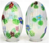 Pair of Artisti Barovier Murano Glass Lamp Globes