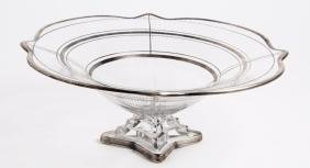 American Pressed Glass & Silver Overlay Fruit Bowl