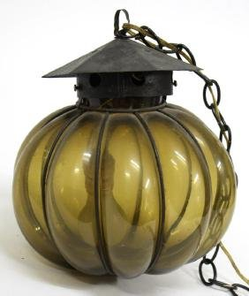 Murano Blown Out Glass & Wrought Iron Lantern