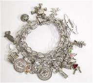Silver Double-Link Charm Bracelet with 19 Charms