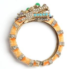 Kenneth Jay Lane Orange Dragon Costume Bracelet
