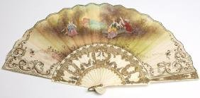 Carved Bone & Hand-Painted Rococo-Style Fan