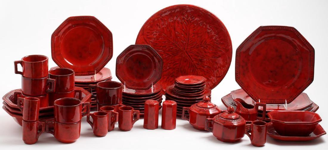 Italian Red-Glazed Ceramic Luncheon Set