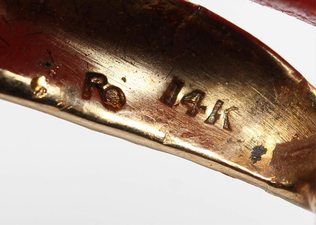 Vintage 14K Gold, Coral, & Ruby Aquatic Brooch - 4