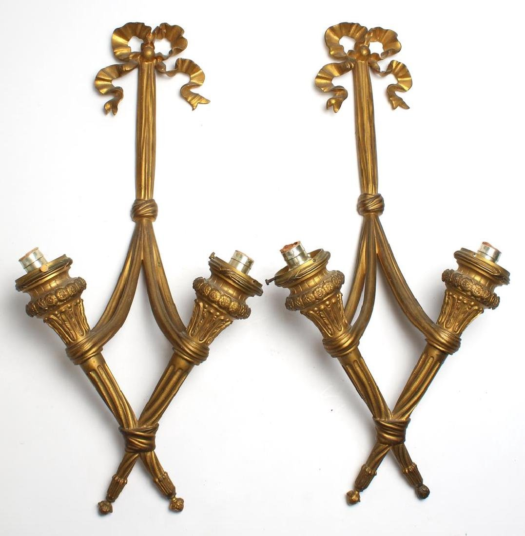 Pair of Bronze Ormolu Wall Sconces