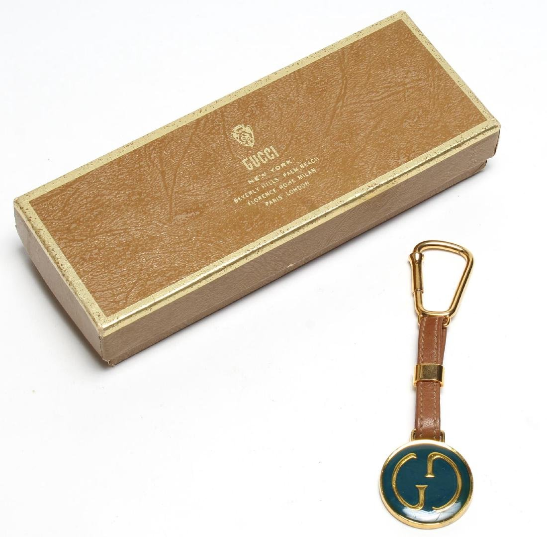 Gucci Enameled Gilt Brass & Leather Key Chain