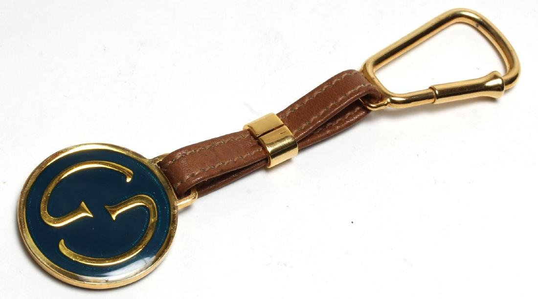 Gucci Enameled Gilt Brass & Leather Key Chain - 2