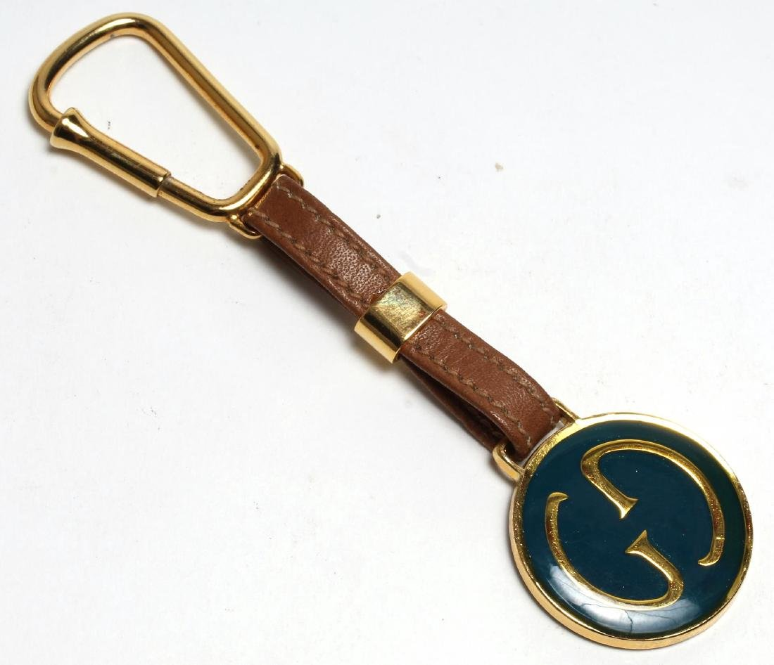Gucci Enameled Gilt Brass & Leather Key Chain - 3