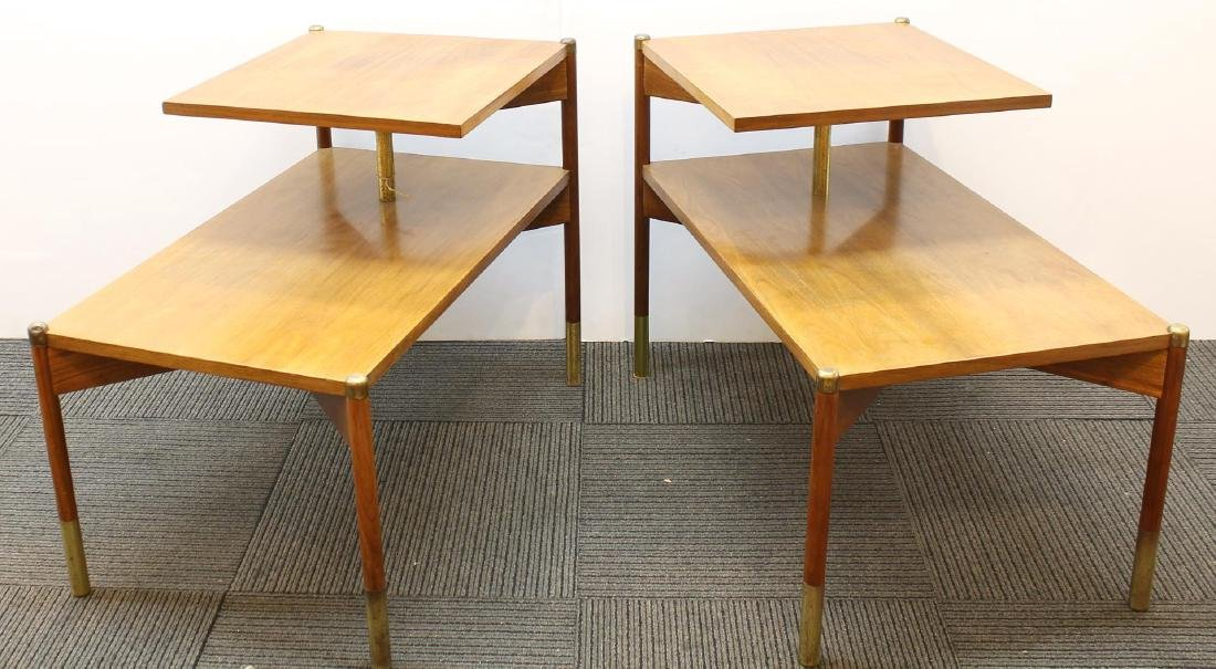 Pair of Mid-Century Modern Stepped End Tables