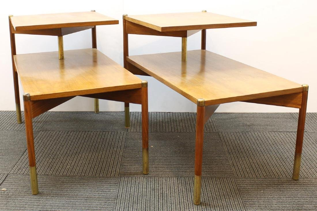 Pair of Mid-Century Modern Stepped End Tables - 3