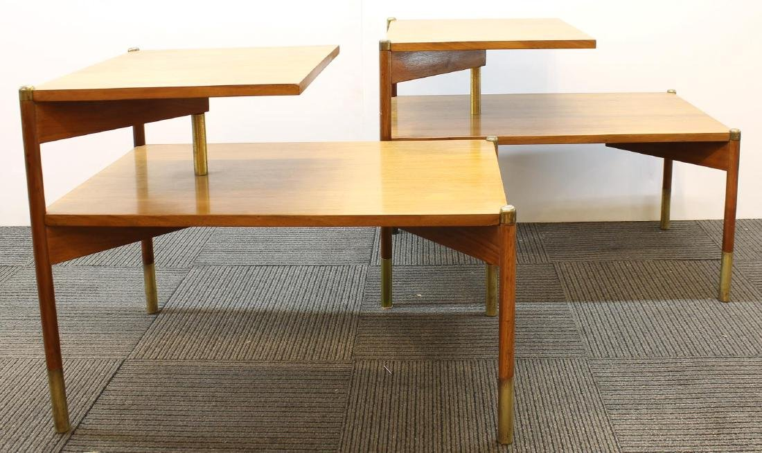 Pair of Mid-Century Modern Stepped End Tables - 4