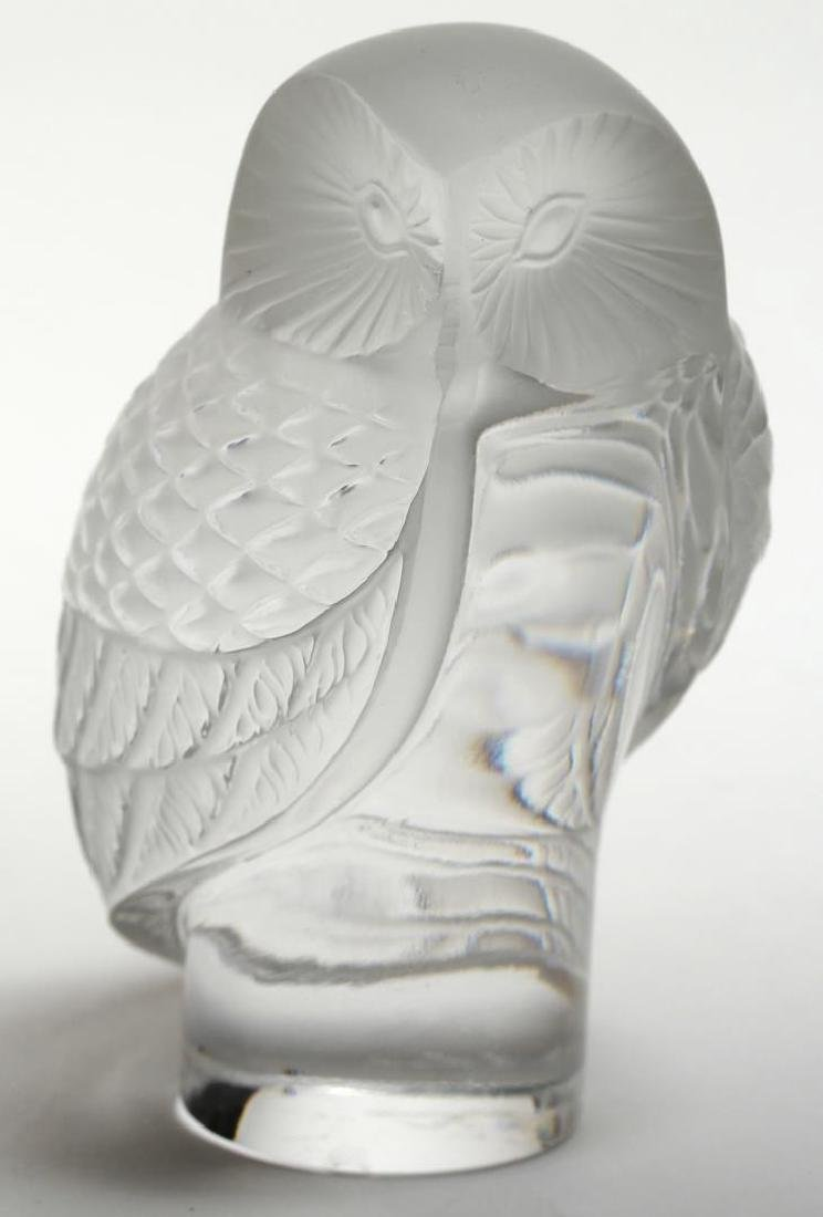 Lalique France Frosted Crystal Owl Paperweight