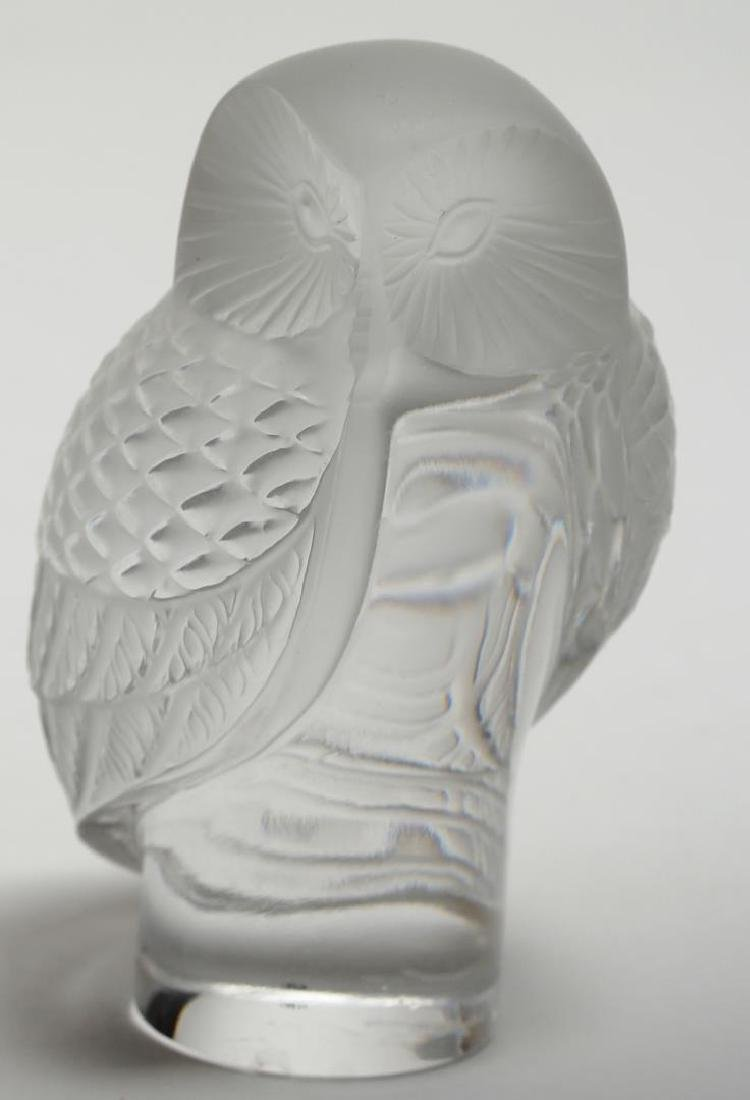Lalique France Frosted Crystal Owl Paperweight - 2