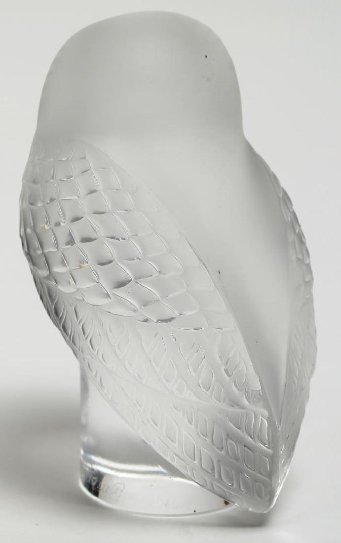 Lalique France Frosted Crystal Owl Paperweight - 4