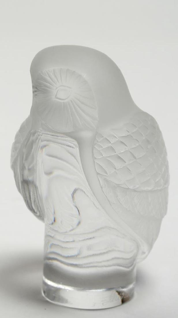 Lalique France Frosted Crystal Owl Paperweight - 5