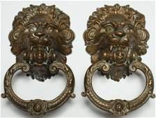 Pair of Gilt Brass LionsHead Door Knockers