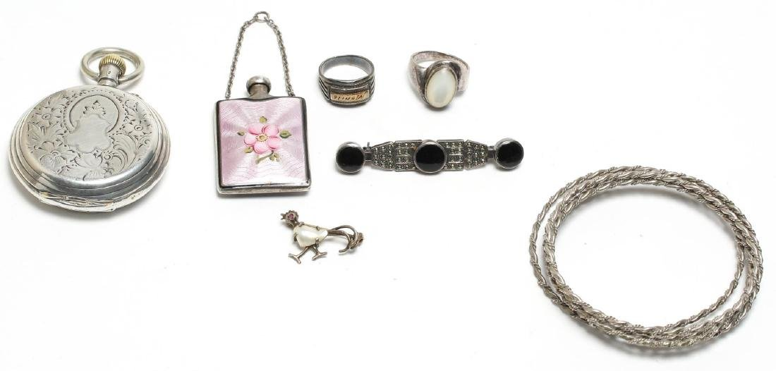 7 Silver Jewelry Articles, incl. Guilloche Enamel