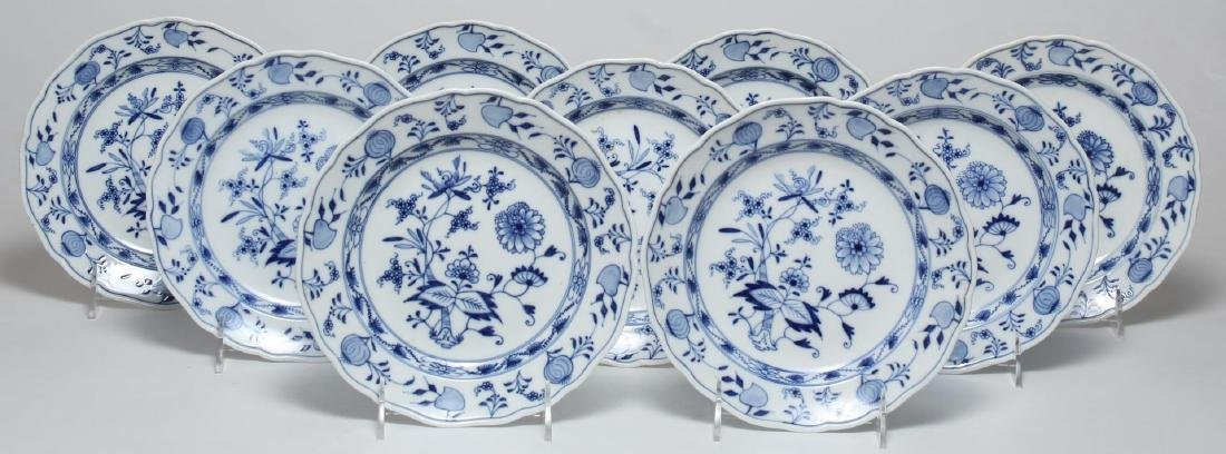 """9 Meissen Porcelain """"Blue Onion"""" Salad Plates"""