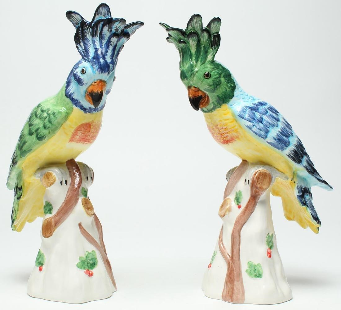 Pair of Italian Porcelain Parrot Figurines