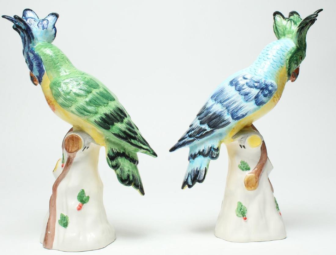 Pair of Italian Porcelain Parrot Figurines - 2