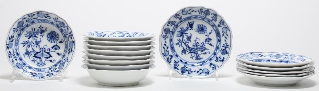 """15 Meissen Porcelain """"Blue Onion"""" Plates & Bowls"""