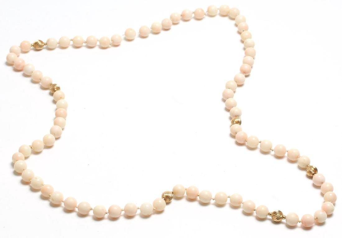 Angelskin Coral & 10K Gold Beaded Necklace