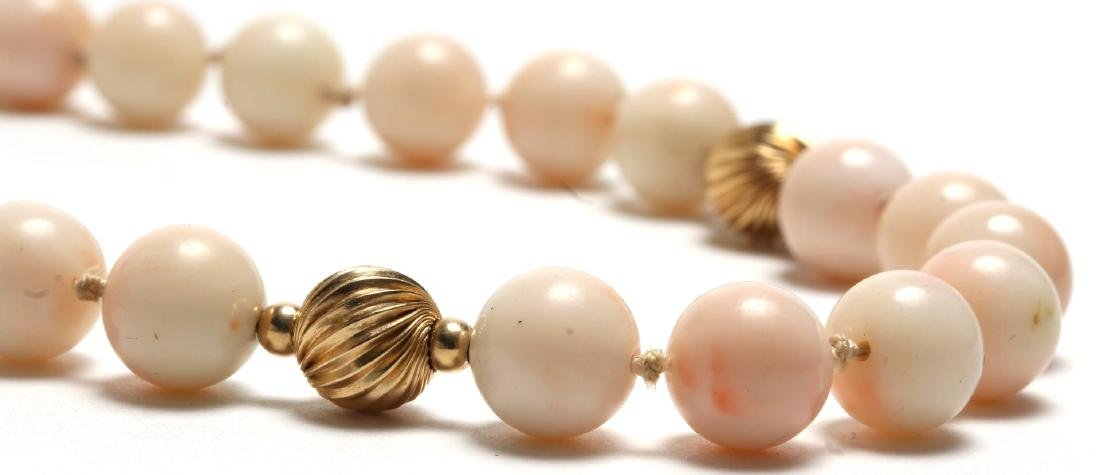 Angelskin Coral & 10K Gold Beaded Necklace - 2