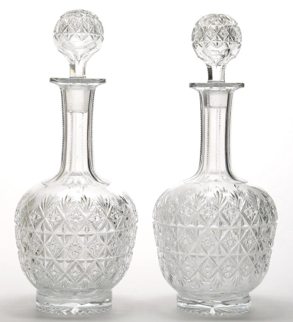 Pair of English Cut Crystal Decanters