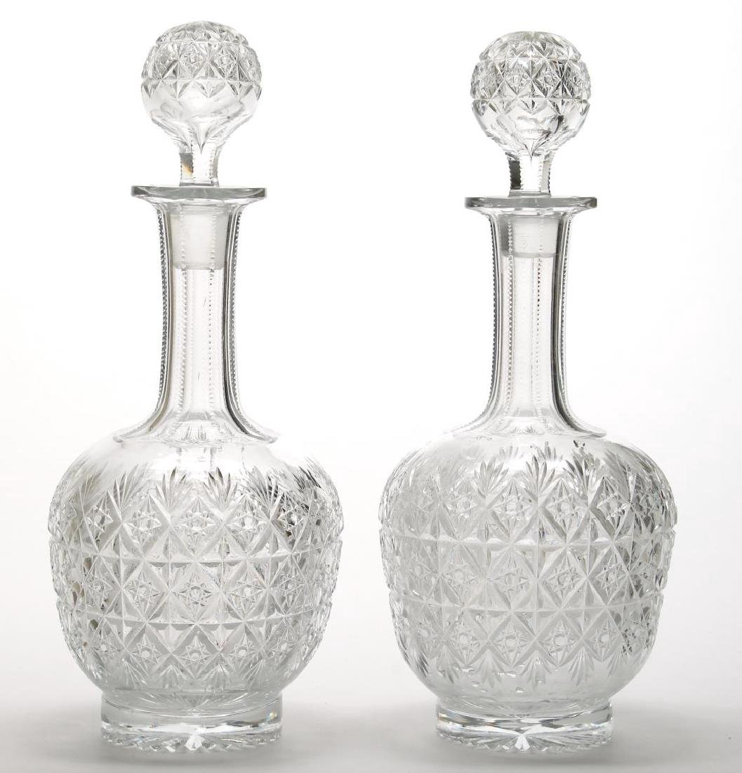 Pair of English Cut Crystal Decanters - 2