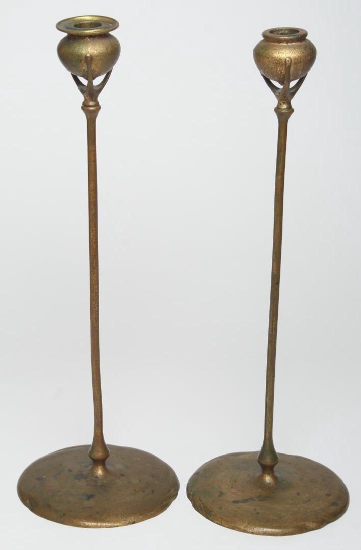 Pair of Tiffany Studios Bronze Candlesticks