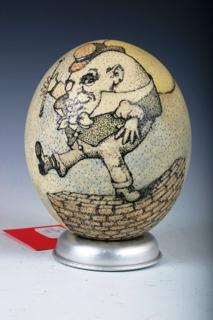 502: Artist Painted Ostrich Egg c1980