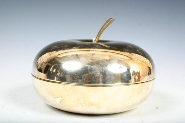 504: Fleuron France Silverplate Apple Container c1960s