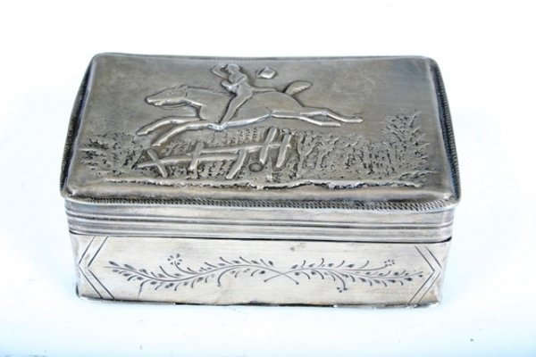 505: Austrian Sterling Silver Engraved & Repousse Box
