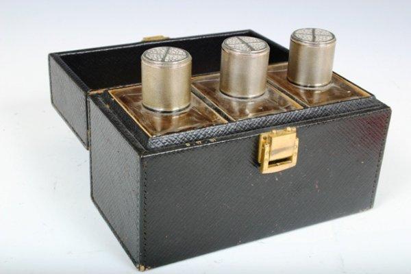 507: 3 French Silver & Shagreen Perfume Bottles c1930