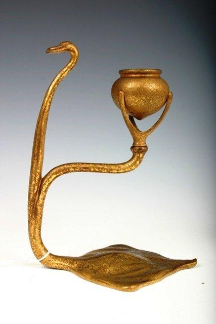 512: Tiffany Studios Bronze Art Nouveau Candlestick