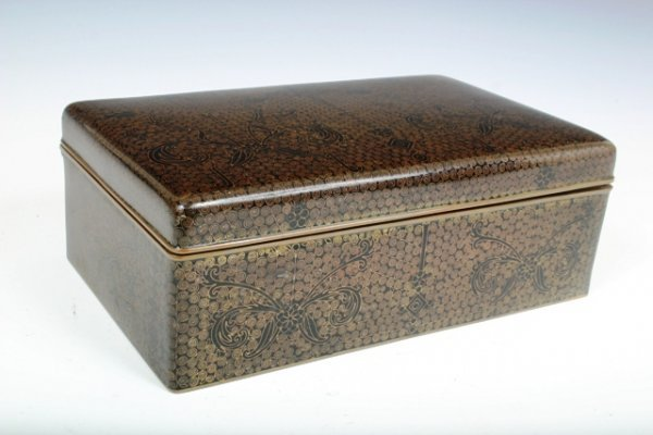 513: Cloisonne Box with Copper Inlay