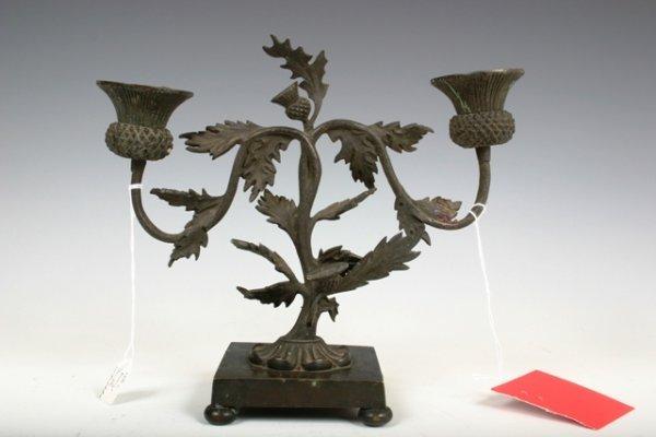 516: 19th c Bronze Thistle Candleholder