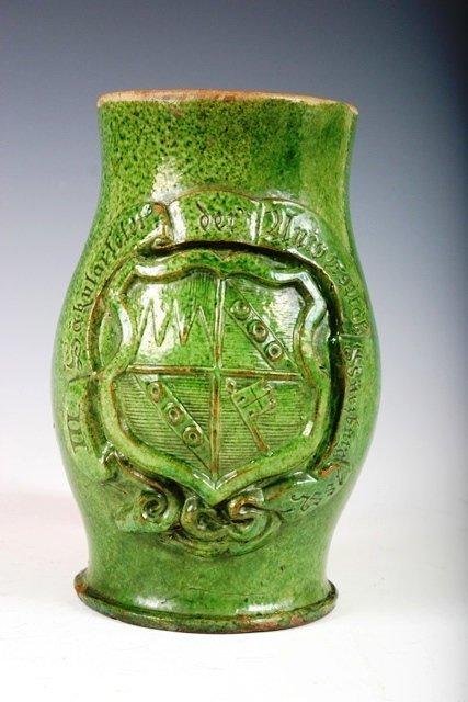517:Ceramic Green Glazed German Student Mug Marked 1882