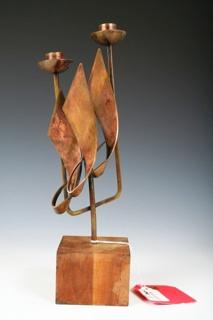 720: Maxwell Chayat Copper Candleabra c1950s