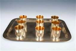 745 Christofle 9 pc Silverplate  Goldwash Liqueur Set