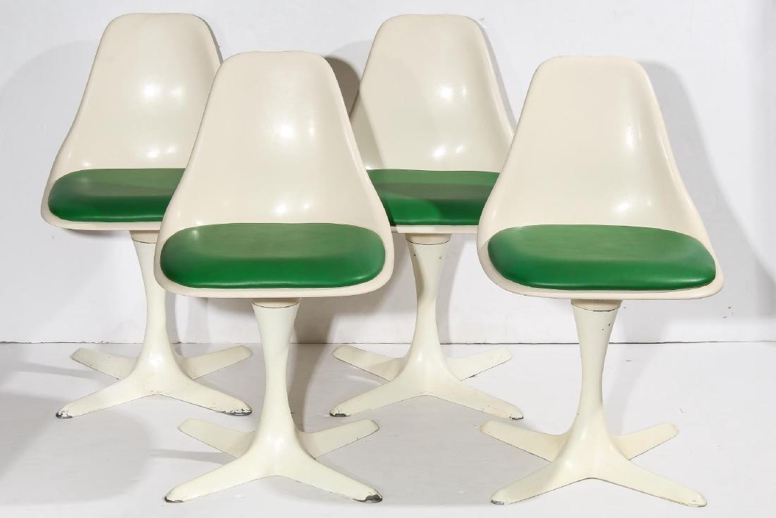 Mid-Century Set of 4 Burke White Tulip Chairs