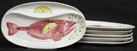 Set of 6 Italian HandPainted Ceramic Fish Plates