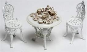 Victorian Cast Iron Dollhouse Garden Furniture Set