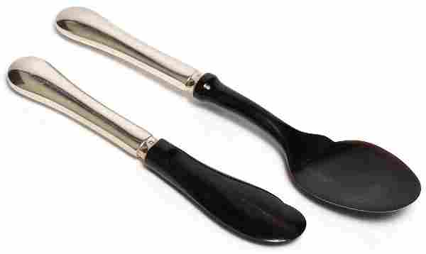 2 Christofle Silver-Plate & Exotic Wood Servers