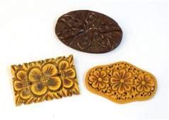 3 Vintage Bakelite Brooches